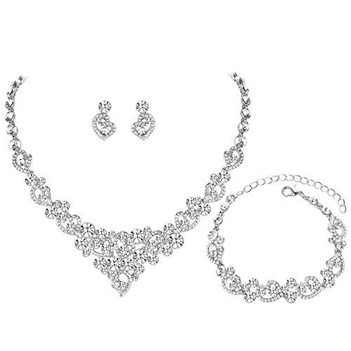 (mecresh Women's Silver-Tone Crystal Heart Bridal Necklace Set Bracelet Dangle Earrings)