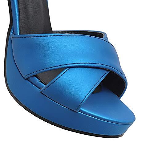 GMBLB013687 Sandales à Haut Boucle Ouverture Femme d'orteil AgooLar Bleu Talon qB8vw