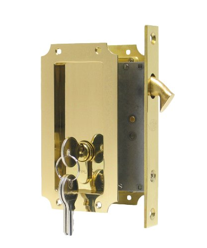 Manor by FPL- Solid Brass Pocket Door Mortise Lock Set with Double Keyed Euro Profile Cylinder - PVD Lifetime Polished Brass