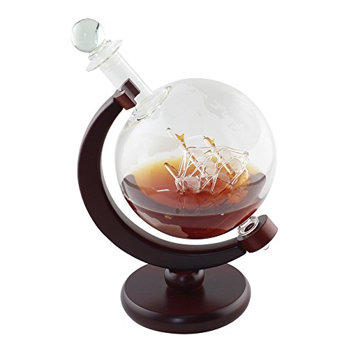 Whiskey Decanter Globe Etched World with Crafted Glass Sailing Ship, Unique House Warming Presents by NEX