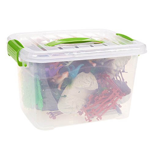 100-Pack Dinosaur Toy Set Figurines - Realistic Plastic Toy Dinosaur Figures Plastic Props Children, Themed Parties, Decorations, Includes Carrying Case - 10.5 x 6.5 x 8.2 inches by Blue Panda (Image #3)