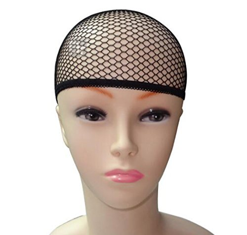 3Pcs Wig Caps Durable Elastic Mesh Net Fishnet Wig Cap with Close End For Women and Men (Black) (Retro Nude Male)