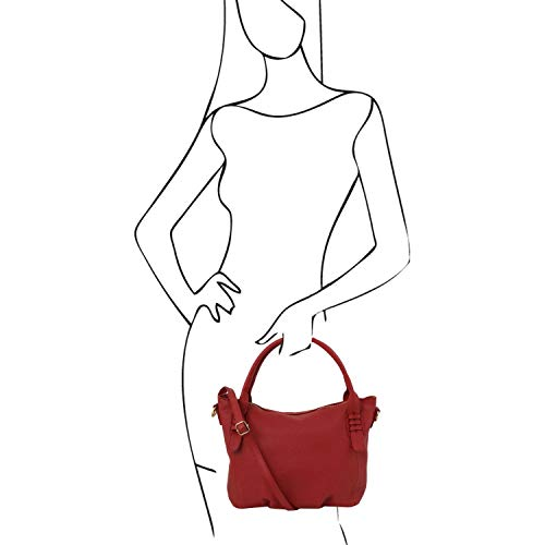 a TL141705 Cognac Suave Bolso Bag en Mano TL Piel Leather Rojo Tuscany qwIfgzTv