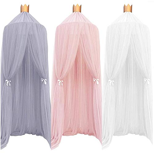 - ESUPPORT Dome Princess Bed Canopy Round Lace Mosquito Net Play Tent Hanging House Decoration Lace Netting Curtains Indoor Game House for Baby Kids