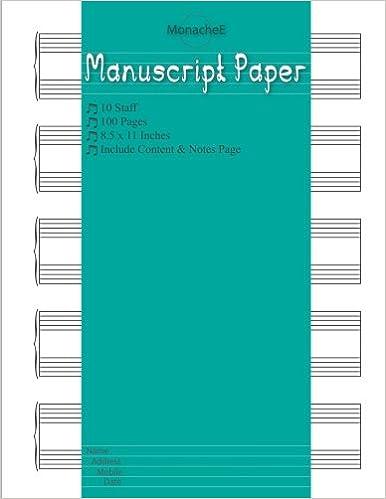 Descargar Manuscript Paper: Musicians Notebook / Staff Paper / Composition<br> / Blank Sheet Paper / Manuscript Paper 10 Stave * 100 Pages 8.5 X11 Inches With ... Design): Volume 11 PDF Gratis