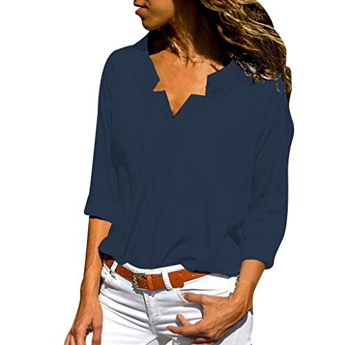Toimothcn Women's Solid Long Sleeve Stand Collar Henly T Shirt Loose Tunic Tops ()