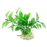 Uxcell Plastic Aquarium Fish Tank Plants Decor Ornament, 3.5-Inch, Green