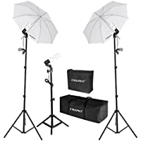 CRAPHY Photography Photo Portrait Studio 600W Day Light Umbrella Continuous Lighting Kit- Light Stand+ E27 Light holder + 45W Lamp+ Portable Bag