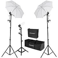 CRAPHY Photography Photo Portrait Studio 600W Day Light Umbrella Continuous Lighting Kit- Light Stand+ E27 Light holder + 45W Lamp+ Portable Bag