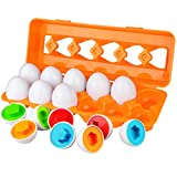Dreampark Toddler Eggs Toys, Learning Educational Color Matching Eggs Set Shape Recognition Toys Easter Eggs for Kids Boy Girls 1 2 3 Year Old (12 Eggs)