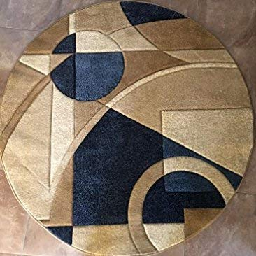 - Modern Round Contemporary Abstract Area Rug Blue Geometric Design 322 (5 Feet 3 Inch X 5 Feet 3 Inch)