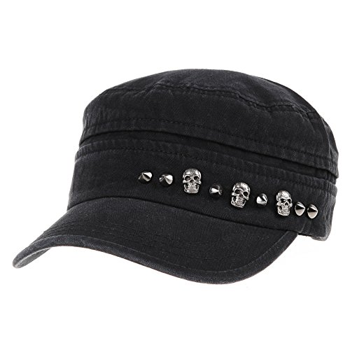 WITHMOONS Cadet Cap Military Skull Stud Cotton Army Hat DW4411 (Black) Skull Cadet Hat