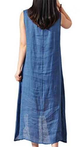 Cromoncent Blue Sleeveless Womens Dress Ethnic Print Sundress Cotton Mid Linen Loose rgSrHx