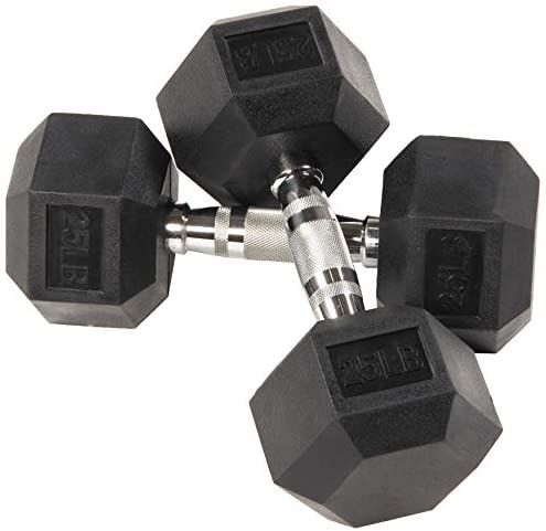StabilityFrom Rubber Encased Hex Dumbbell in Pairs, Singles or Set with Rack