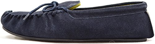 Genuine Slippers Mens Moccasin Suede Sole Traditional Rubber with Leather Navy xxrXU5v