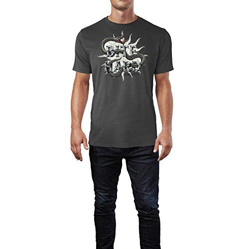SINUS ART® Schlange im Tattoo Stil – Bite Hard Herren T-Shirts in Smoke Fun Shirt mit tollen Aufdruck