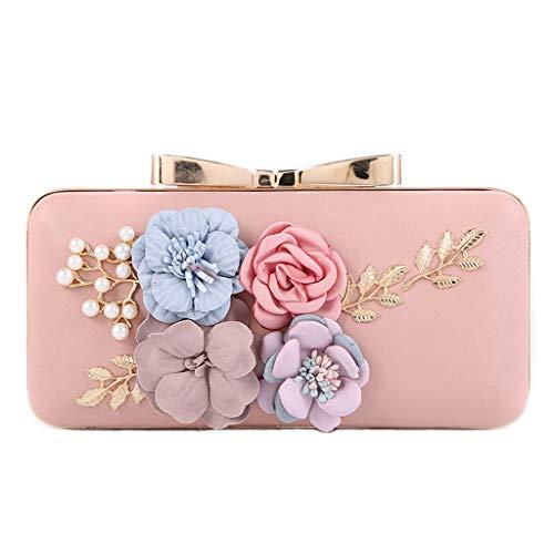 Purse Women Party Prom Handbag Wallet SLYlive Wedding Pink Beaded Evening Bag Flower Clutch vFZdwqC