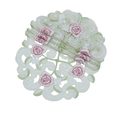 Xia Home Fashions Dainty Rose Embroidered Cutwork Spring Doilies, 8-Inch Round, Set of 4