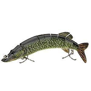 TOOGOO(R) 20cm 40g Lifelike Multi-jointed 8-segement Pike Muskie Fishing Lure Swimbait Crankbait...