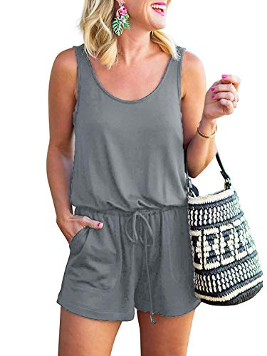 ANRABESS Rompers for Women Sleeveless Scoop Neck Short Jumpsuits Tank Rompers DWX-huise-XL BYF-46