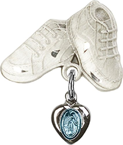 Sterling Silver Baby Badge Baby Boots Pin with Heart Miraculous Medal with Blue Enamel Charm, 3/4 Inch