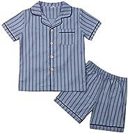 LUCKHA Baby Boys Pajamas Stripe Sleepwear Cotton Shirt + Shorts Summer Pjs Outfits Button Down Nightclothes