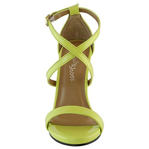 Dailyshoes Donna Sandalo Tacco Alto Open Toe Fibbia Alla Caviglia Tracolla Cross Platform Pompa Abito Da Sera Scarpe Casual Party Vernice Gialla