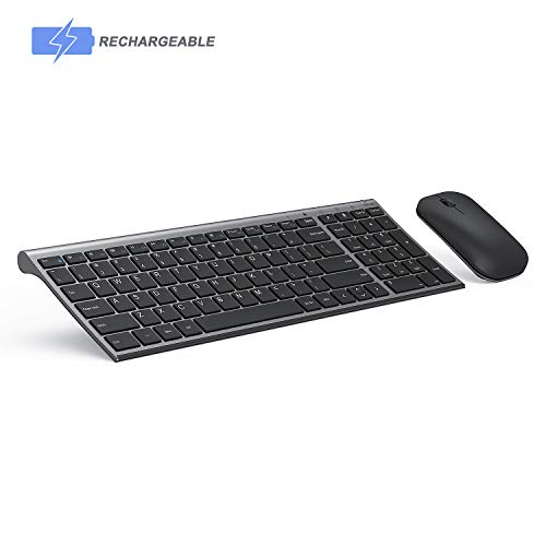 Wireless Keyboard and Mouse Combo, Seenda Slim Thin Rechargeable Low Profile Wireless Keyboard and Mouse with Number Pad for Windows Devices-Silver and Black (Best Slim Wireless Keyboard)