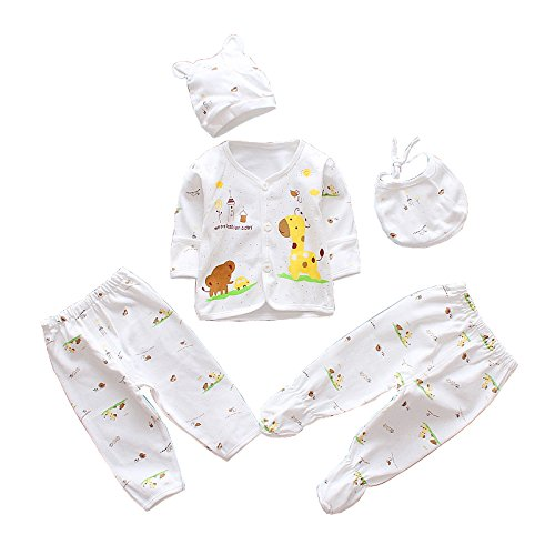 5pcs Newborn Baby Boy Girl Clothes Sets Unisex Infant Outfits with Animals (Yellow)