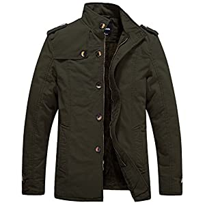 Wantdo Men's Cotton Stand Collar Jacket with Fleece