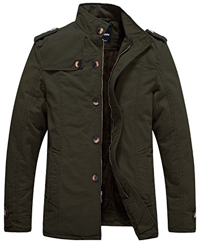 (Wantdo Men's Cotton Stand Collar Jacket with Fleece US X-Large Army Green)