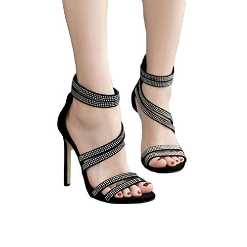 vermers Hot Sale Women High Heel Sandals - Summer Fashion Party Wedding Rhinestone Shoes Sexy Sandals(US:5, Black)