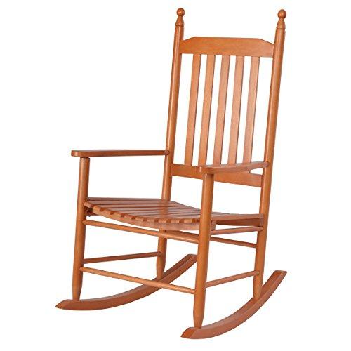 Walnut Wooden Rocking Chair Porch Rocker Ergonomic Backrest Capacity 300 Lbs