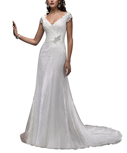 Gericht Brautkleider aus Spitze aermel BRIDE Tulle GEORGE Zug bedeckter Kappe Weiß Hochzeitskleider 0qwInzA