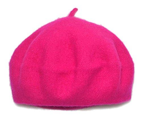 AWAYTR Children Wool French Beret Girl's Artist Hat Rose red