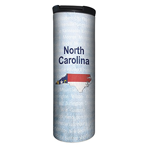 Tree-Free Greetings BT21657 Barista Tumbler Vacuum Insulated, Stainless Steel Travel Coffee Mug/Cup, 17 Ounce, NC Flag