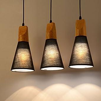 Tianliang04 Holz Stoff Hängeleuchte Moderne Decke Hängende ...