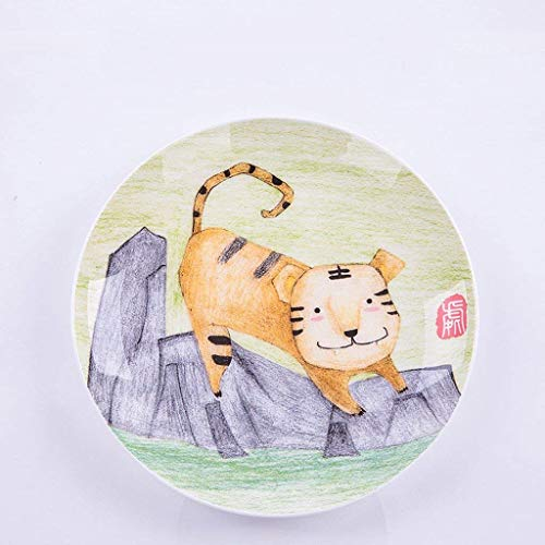 XXJ-Bowls Creative Breakfast Steak Children's Fruit Plate Hand Painted Animal Dish Cutlery Cartoon Ceramic (Color : Tiger) ()