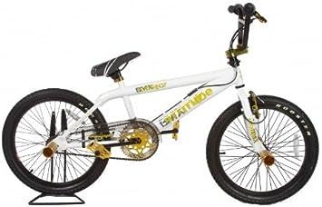 Rooster - Bicicleta BMX freestyle, color blanco / dorado: Amazon.es ...