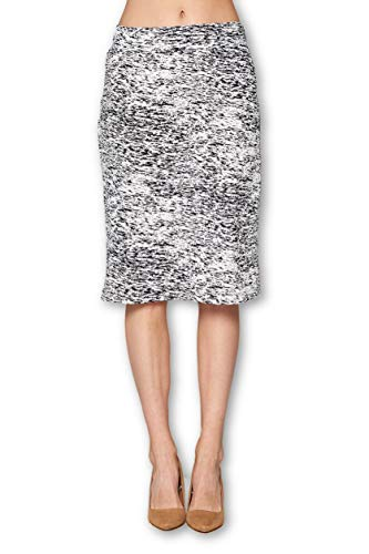 - Women's High Waist Knit Stretch Multi Print Office Pencil Skirt (S-3XL) -Made in USA (White Black, Large)