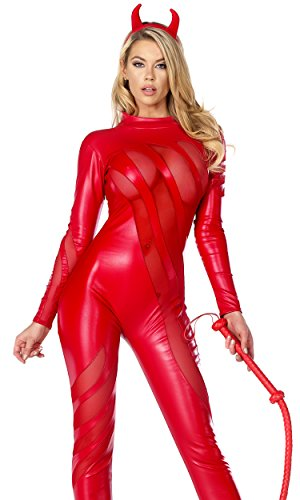 Red Catsuit Costumes (Forplay Women's Vile Vixen Matte Catsuit with Mesh Insets and Headband, Red, X-Small/Small)