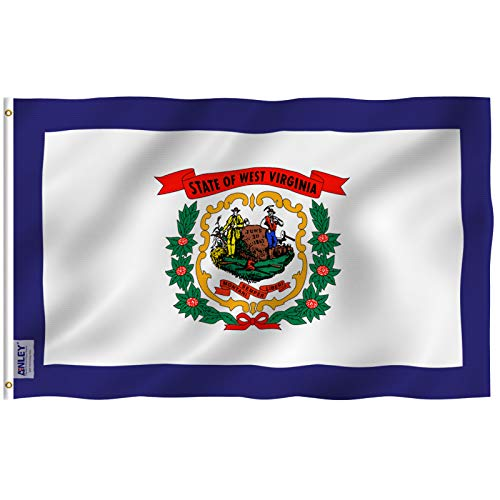 Anley Fly Breeze 3x5 Foot West Virginia State Flag - Vivid Color UV Fade Resistant - Canvas Header Double Stitched - West Virginia WV Flags Polyester Brass Grommets 3 X 5 Ft