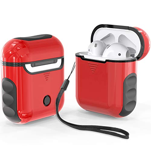 ORETECH Airpods Case Cover, Heavy Duty Hybrid 2 in 1 Shockproof Full Protective Case Hard PC+Soft Rubber Silicone Skin Cover Accessories Kits for Airpods 1/Airpods 2 - Red&Black