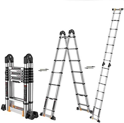 lqgpsx Aluminum Telescoping Extension Ladder, A-Frame Portable Multi-Purpose Folding Telescopic Ladders For Home Loft…