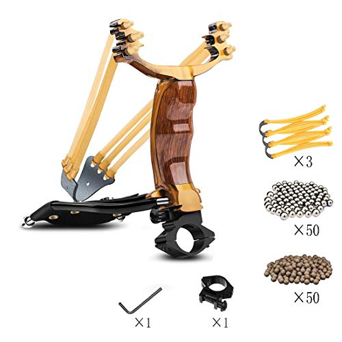 KAINOKAI Hunting Slingshot,Heavy Duty Wrist Rocket Slingshot Sling Shot for Adult Outdoor Catapult Slingshot Set (Slingshot King Set)