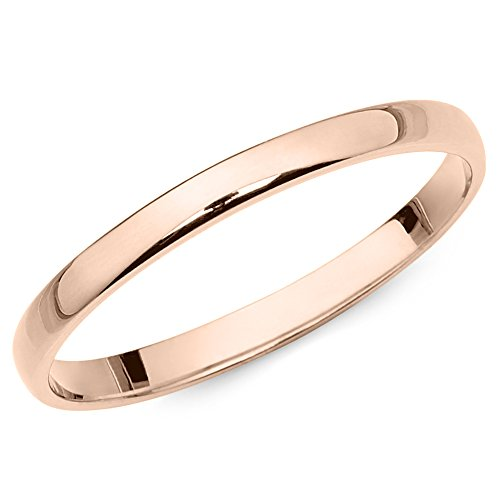 10k Rose Gold 2mm Light Comfort Fit Plain Wedding Band - Size 7 by The Jewelry Galleria (Image #1)