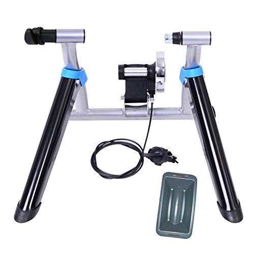 8 Levels Magnetic Resistance Indoor Bike Trainer Quiet Smooth Pedaling Bicycle Exercise Trainer Stand w Quick Release Skewer and Front Wheel Block