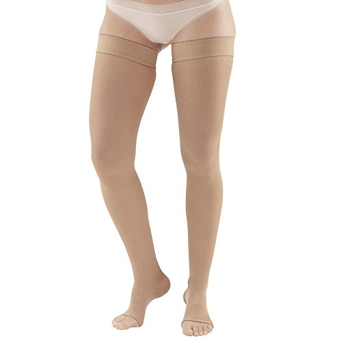 Ames Walker AW Style 265 Microfiber Opaque 20-30mmHg Firm Compression Open Toe Thigh High Stockings w Dot Band Sand Xlarge - Relieves pain of tired aching legs - Mild Varicosities ()