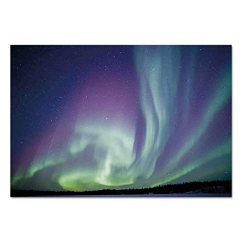 Large Wall Mural Sticker [ Northern Lights,Exquisite Atmosphere Solar Starry Sky Calming Night Image,Mint Green Dark Blue Violet ] Self-adhesive Vinyl Wallpaper / Removable Modern Decorating Wall Art