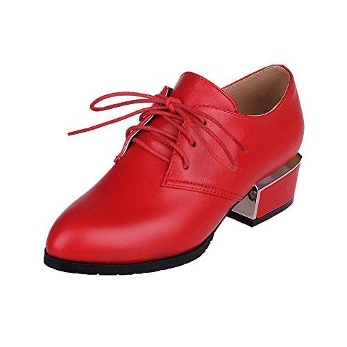 AllhqFashion Damen Spitz Zehe Niedriger Absatz Schnüren Rein Pumps Schuhe, Rot, 40
